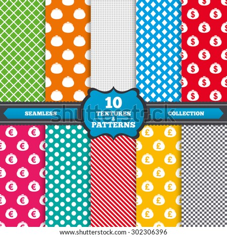 Seamless textures. Wallet with Dollar, Euro and Pounds currency icons. Cash bag signs. Retro wealth symbol. Endless patterns with circles, diagonal lines, chess cell. Vector - stock vector