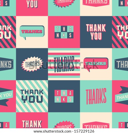 Seamless 'Thank You' pattern with colorful squares. - stock vector