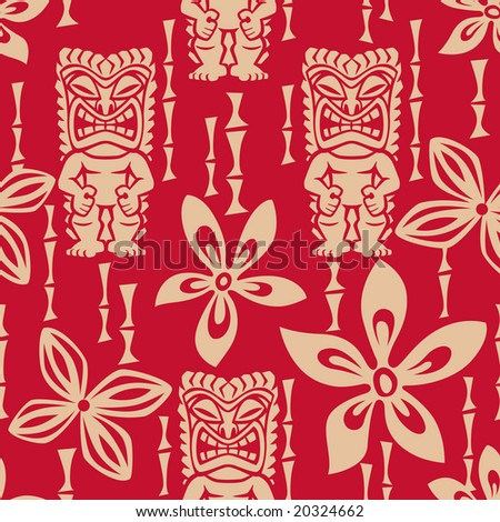 Seamless Tiki Tapa Pattern - stock vector