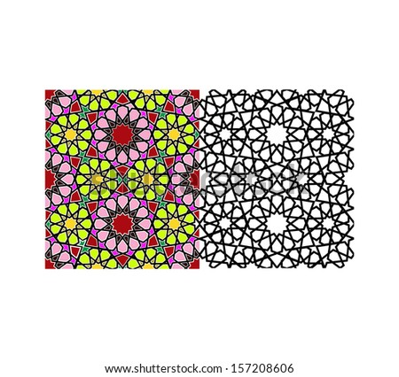 Seamless tile-able symmetrical pattern arabic islamic pattern background with colored example - stock vector