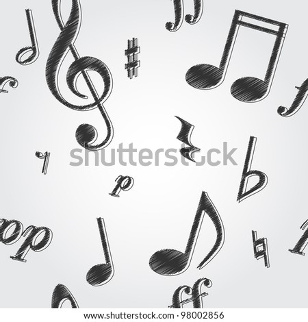 Seamless tile-able texture background with music notes and symbols