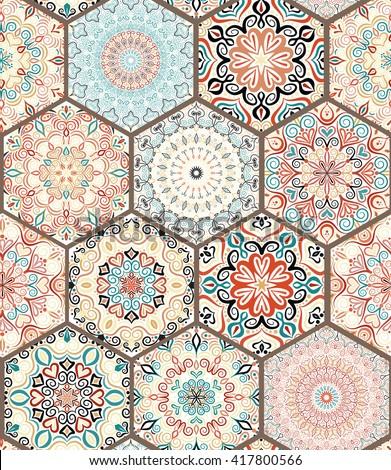 Seamless tile pattern. Colorful boho pattern. Mandala ornament pattern. Flower hexagon pattern. Unusual pattern vector. Oriental tile pattern. Pattern design elements. Portuguese round tile pattern. - stock vector