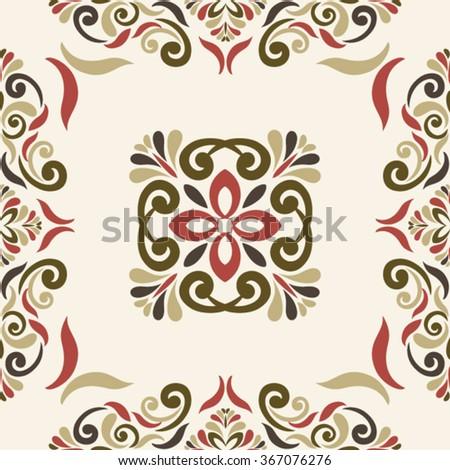 Seamless TILE  pattern in marsala-brown-beige colors - like retro tiles - stock vector