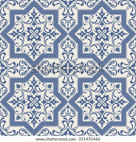 seamless tile with Moroccan motives in blue - stock vector