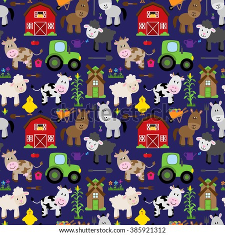 Seamless, Tileable Farm Animal and Barnyard Background Pattern - stock vector