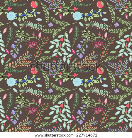 Seamless Tileable Vintage Floral Background Pattern - Vector Illustration  - stock vector
