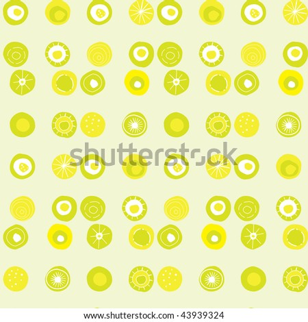 Seamless tiled vector pattern with lime coloured dots - stock vector