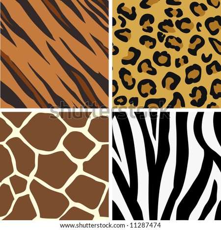 Seamless tiling animal print patterns of tiger, leopard, giraffe and zebra. Created especially to look at their best when tiled. - stock vector