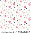 seamless tiny cute floral pattern on navy background - stock vector