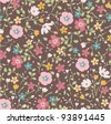seamless tiny  floral seamless pattern - stock photo