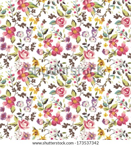 seamless tiny flowers,floral vector pattern background - stock vector
