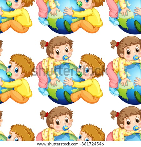 Seamless todlers boy and girl holding earth illustration - stock vector