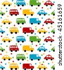 Seamless toy car background for baby boy. - stock vector