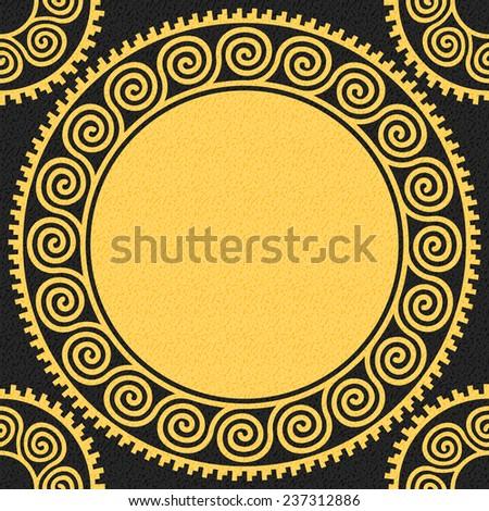 Seamless Traditional vintage golden Greek ornament (Meander) on a black background - stock vector
