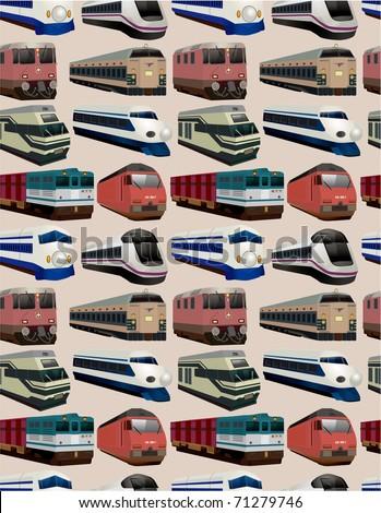 seamless train pattern - stock vector