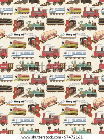 seamless Trains pattern - stock vector