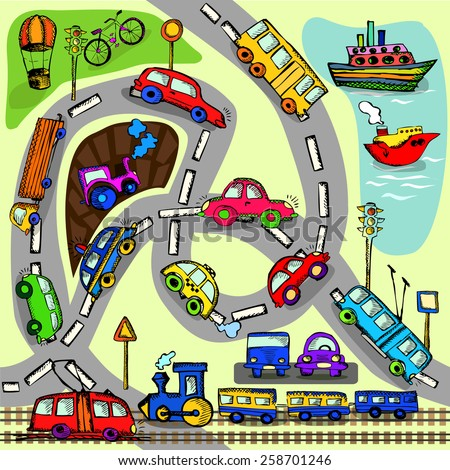 Seamless transport a child's drawing. Vector - stock vector