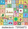 Seamless Trendy and cute mosaic Pattern design. - stock vector