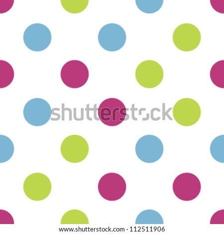 Seamless tri-color kiddie polka dot pattern - stock vector