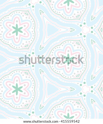 Seamless tribal mandala pattern background. Meditative zentangle creative illustration. - stock vector