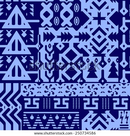Seamless Tribal Vector Pattern. Background with mixed ethnic elements. Black on blue - stock vector