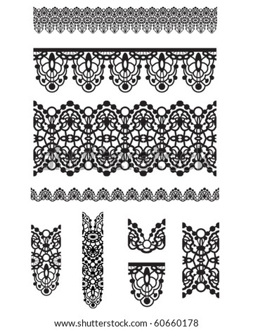 Seamless trims for use with fabric projects, backgrounds or scrap-booking.  Elements can also be used as Illustrator brushes - stock vector