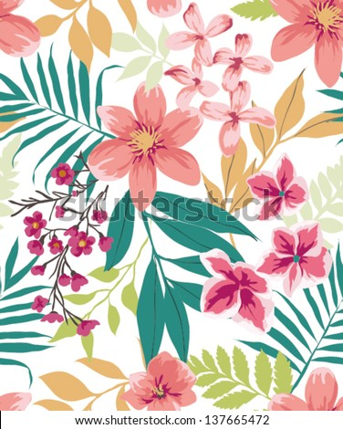seamless tropical flower ,plant vector pattern background - stock vector