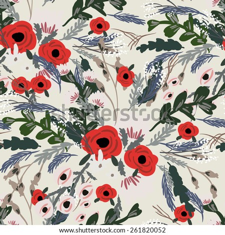 Seamless tropical flower ,plant vector pattern background.Traditional classic rose seamless pattern - For easy making seamless pattern use it for filling any contours. - stock vector
