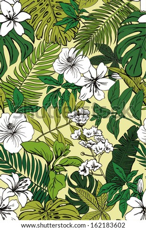 seamless tropical flowers pattern with leaves for fashion design - stock vector