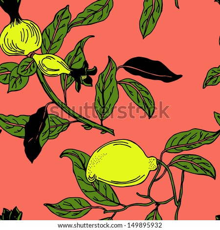 Seamless tropical fruit colorful pattern in vector  - stock vector