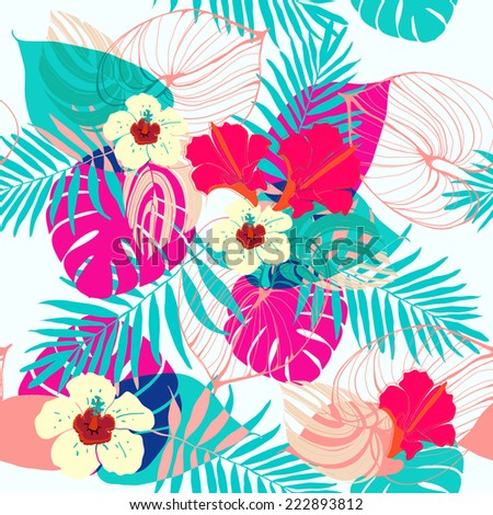 Seamless tropical jungle floral pattern.