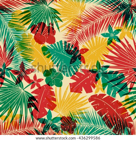 Seamless tropical jungle pattern with leaves, plants and flowers. Retro offset print effect, color overlay, anaglyph. Hibiscus, ferns and tropical foliage. - stock vector