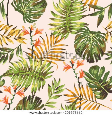 seamless tropical leaves print pattern background - stock vector