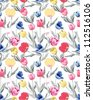 seamless tulips,floral pattern,hawaii ,beach style,tropical - stock vector