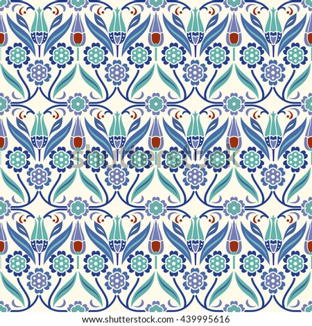 Seamless turkish colorful pattern. Endless pattern can be used for ceramic tile, wallpaper, linoleum, textile, web page background. - stock vector