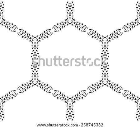 Seamless turkish geometric pattern with monochrome small flowers, leaves and hexagons. - stock vector