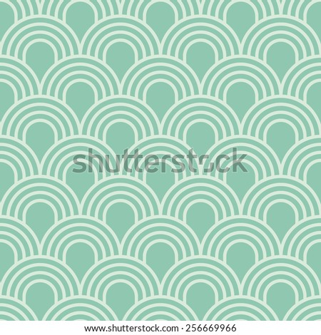 Seamless turquoise simple art deco wave scales pattern vector - stock vector