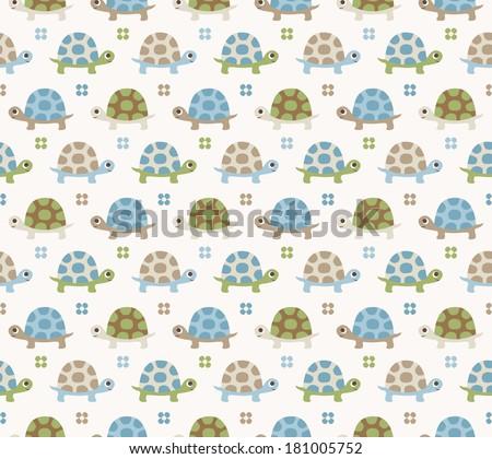 seamless turtle cartoon pattern - stock vector