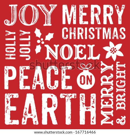 Seamless typographic Christmas background design for greeting cards with seasonal messages in decorative text. - stock vector