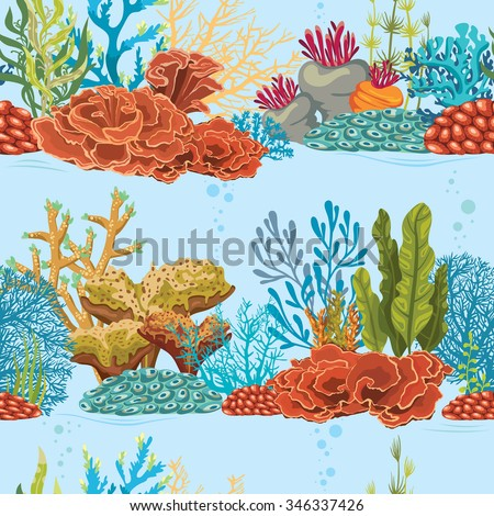 Seamless underwater pattern with coral reef and algae. Natural vector colorful wallpaper. - stock vector
