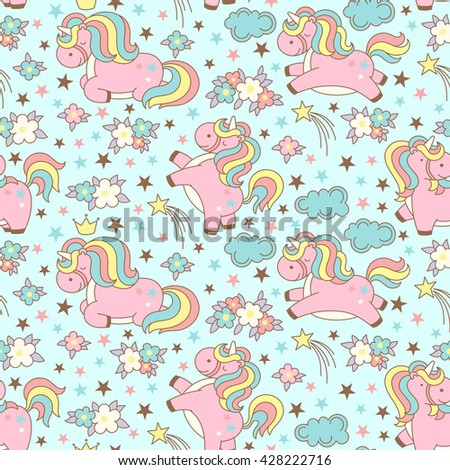 Seamless unicorn pattern with clouds, stars, crown and flowers on blue background. Cute cartoon background in japanese style. Vector illustration. - stock vector