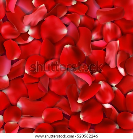 Seamless valentine background with falling red rose petals on gray background, vector illustration. Love pattern