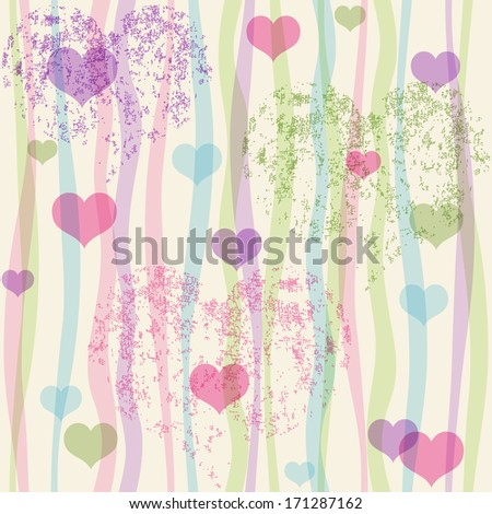Seamless valentine pastel grunge pattern with translucent colorful strips and hearts (vector eps 10) - stock vector
