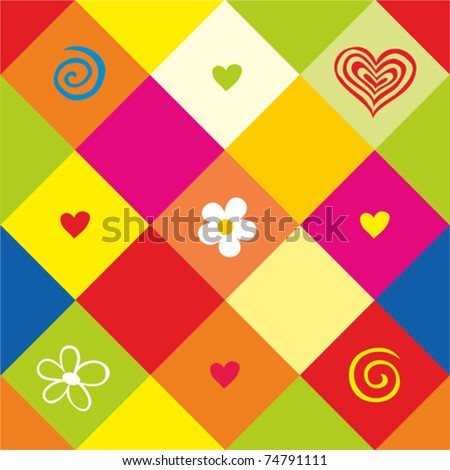 Seamless valentine pattern.  Colorful  background. vector - stock vector