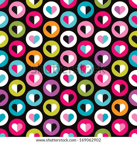 Seamless valentine round love bubbles kids background pattern in vector  - stock vector