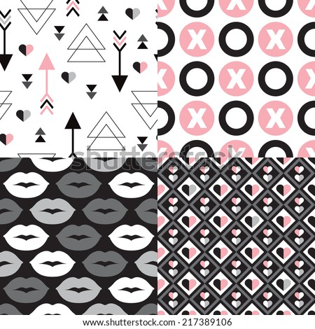 Seamless valentine's day love heart shapes and kisses wedding background pattern in vector - stock vector