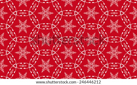 Seamless vector abstract pattern, lace fabric,red background with snowflakes elements, wrapping - stock vector