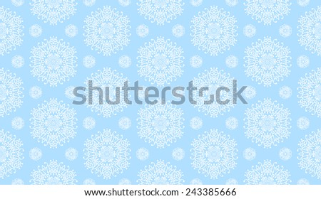 Seamless vector abstract pattern, lace fabric, soft blue background with snowflakes elements, wrapping  - stock vector