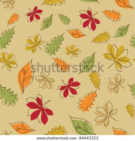 Seamless vector autumn leaves pattern - stock vector