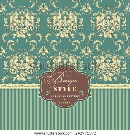 Seamless vector background. Baroque pattern and border. Design element